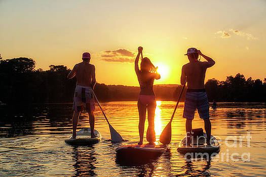 Herronstock Prints - A group of friends, silhouetted by the sunset, exercise on stand-up paddle boards on Lady Bird Lake in Austin, Texas