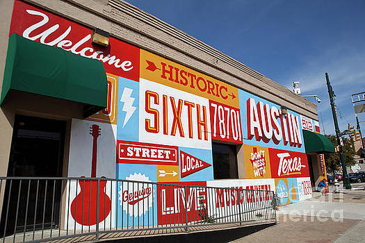 Herronstock Prints - A Hand painted mural, Welcome to Historic Sixth Street, welcomes