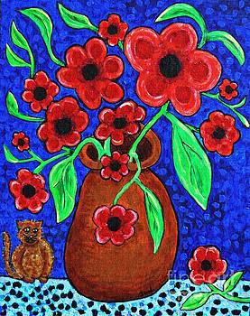 Sarah Loft - A Jug of Red Flowers