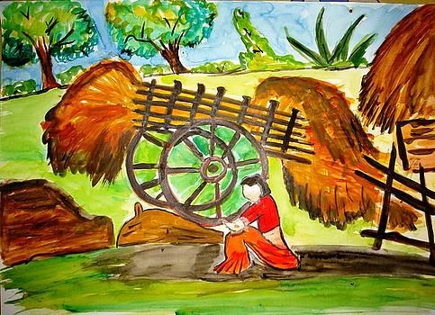 A lady in a village by Sonali Singh