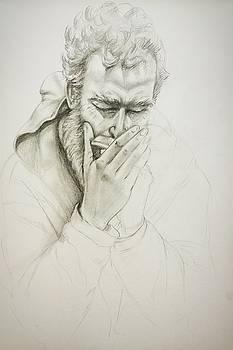 A man with a harmonica by Katerina Kovatcheva