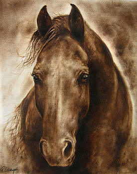 A Misty touch of a Horse so gentle by Paula Collewijn -  The Art of Horses