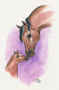 A Mother's Love, UC Lyric and her foal, UC Ringmaster by Helen Scanlon