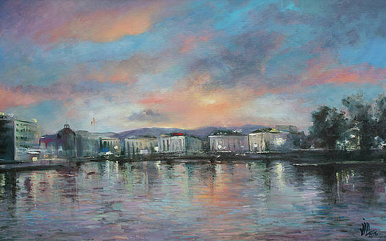 Vali Irina Ciobanu - A night at Geneva.Swetzerland.Painting by Vali irina Ciobanu