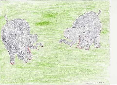 A Pair Of Elephants by Golden Dragon