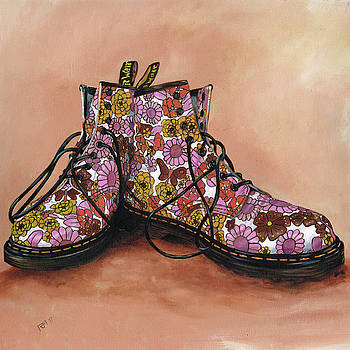A Pair of Floral Dr Martens by Richard Mountford