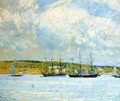 A Parade Of Boats 1895 by Hassam Childe