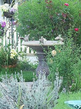 A Peaceful Fountain in the Garden by Jan Moore