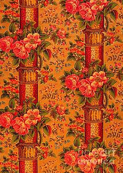 Peter Ogden - Peonies Roses and Bamboo Anglo Japonesque  1870s Victorian Tapestry
