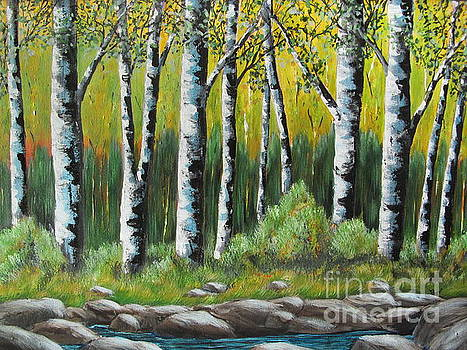 A Quiet Place- White Birch Trees by Beverly Livingstone