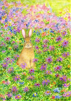 A Rabbit And Flowers by Jingfen Hwu