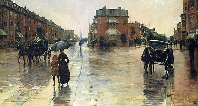 A Rainy Day In Boston 1885 by Hassam Childe