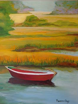 A Red Solo Boat Cape Cod by Maureen Obey