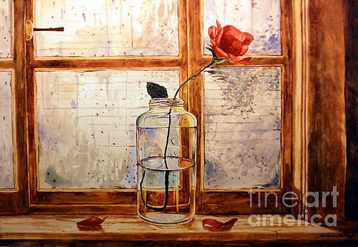 Christopher Shellhammer - A rose in a glass jar on a rainy day