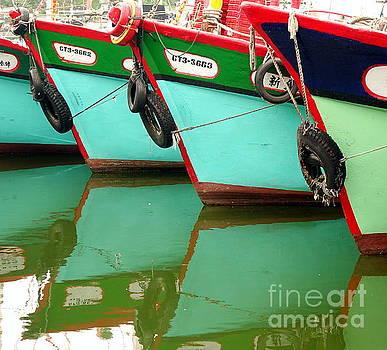 A Row of Traditional Fishing Boats by Yali Shi