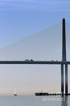 A sailing boat passes under the bridge in Tampa Bay by Louise Heusinkveld