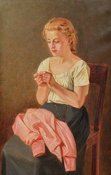 A Sewing Girl by Arvid Liljelund