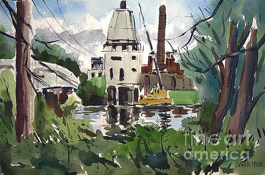 A Slow Demolition of a Power Plant plein air framed by Charlie Spear