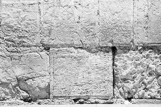 A Small Part Of The Wailing Wall In Black And White by Yoel Koskas