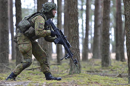 A Soldier steps cautiously through a Lithuanian forest by Paul Fearn