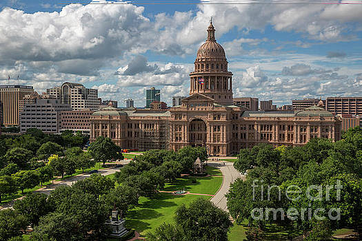Herronstock Prints - A spectacular view of the lush historic south grounds of the Texas State Capitol on sunny day