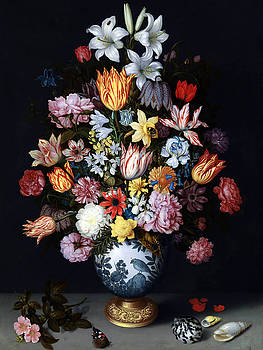 A Still Life of Flowers in a Wanli Vase on a Ledge by MotionAge Designs