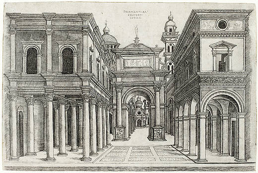 Zoan Andrea - A Street with Various Buildings, Colonnades and an Arch