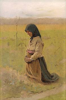 A study of a kneeling woman, Ladislav Mednyanszky ca 1895 by Vintage Printery