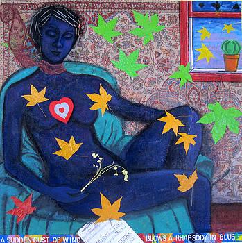 A sudden gust of wind blows a rhapsody in blue by Susan Stewart