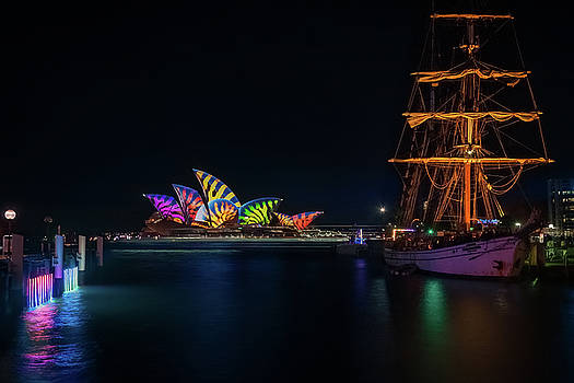A Tall Ship at Vivid Sydney by Daniela Constantinescu