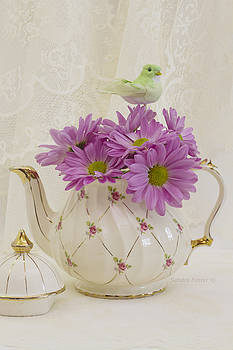 Sandra Foster - A Tea Pot Of Pink Daisies