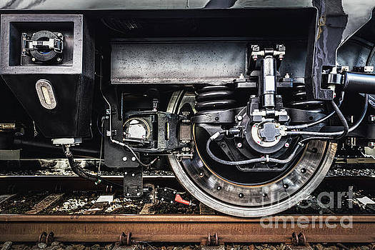 Michal Bednarek - A train wheel close-up. Railway industry