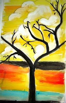A tree and Sun rise by Sonali Singh