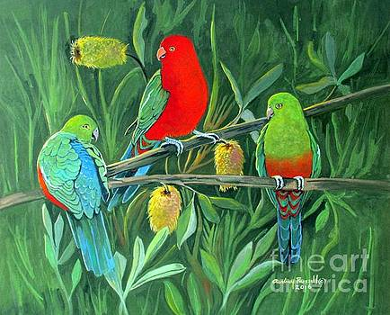 A trio of Australian King Parrots by Audrey Russill