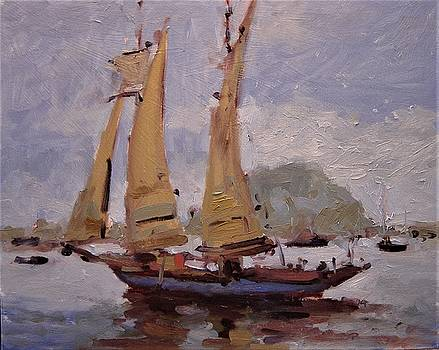 A two master sails into Morro Bay by R W Goetting