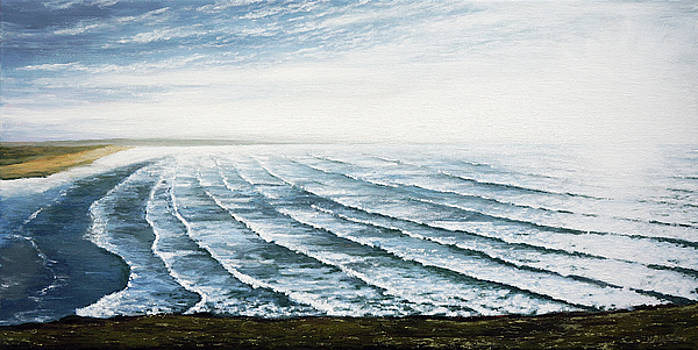 A View of Saunton Beach and Waves by Mark Woollacott