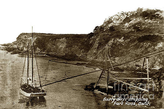 California Views Mr Pat Hathaway Archives - A two-masted  schooner at Timber Cove doghole port    1900