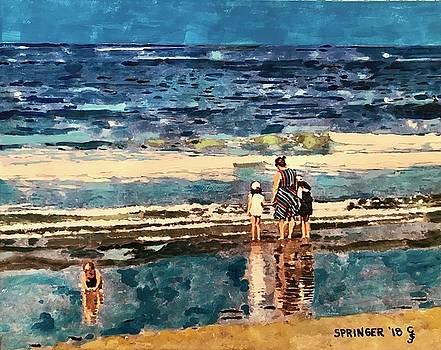 A Woman and her Children, Santa Monica Beach by Gary SprinSanta Monica Beachger