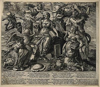 A woman beleaguered by four enemies by Hieronymus Wierix
