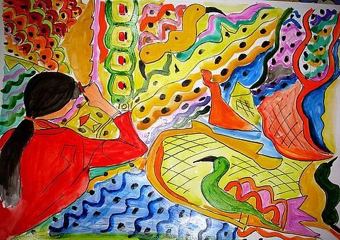 A woman knitting a carpet by Sonali Singh