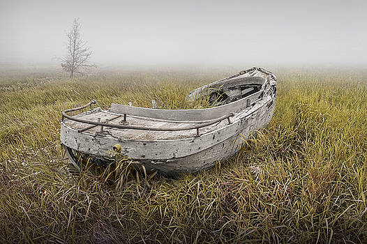 Randall Nyhof - Abandoned Boat in the Grass on a Foggy Morning