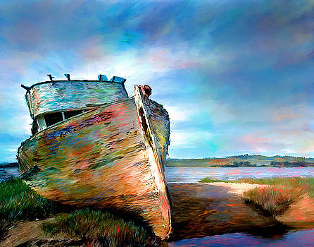 Abandoned Boat Landscape Art Painting by Andres Ramos