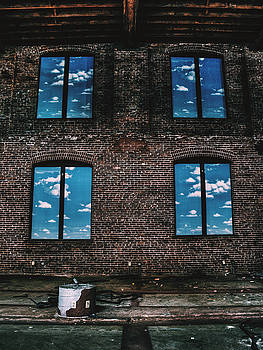 Abandoned Building Interior With Fake Painted Windows With Sky and Clouds by Dylan Murphy