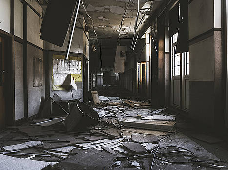 Abandoned School Hallway by Dylan Murphy