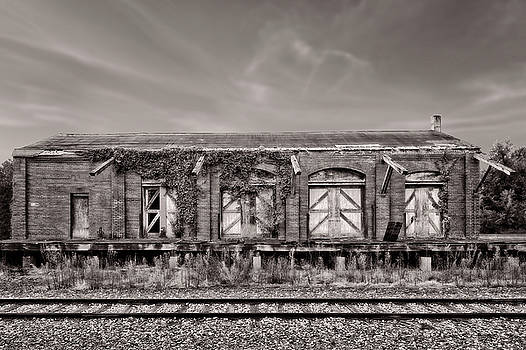 Abandoned Train Freight Station  -  12traindepotbwcoffee2345 by Frank J Benz