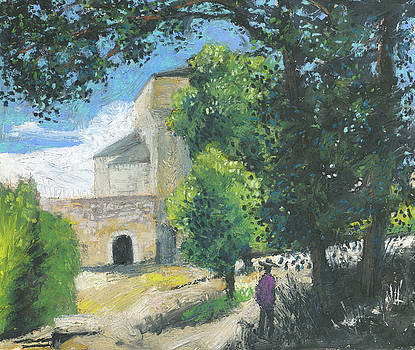 Abbaye Ganagobie - oil pastel,oilcolor by Martin Stankewitz