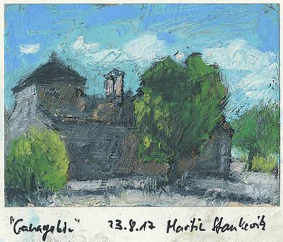 Abbaye Ganagobie small plein air study in oil pastel by Martin Stankewitz