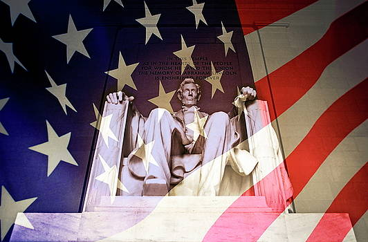 Sami Sarkis - Abraham Lincoln Memorial blended with American flag