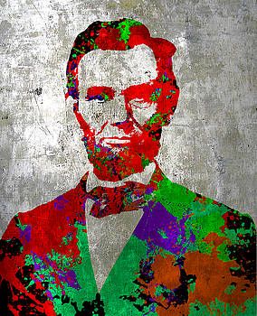Abraham Lincoln on Silver - Amazing President by Robert R Splashy Art Abstract Paintings