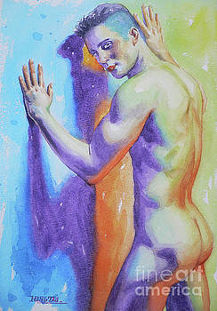 Abrstract watercolor painting male nude #17-1-3 by Hongtao Huang